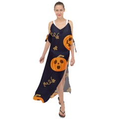 Funny Scary Black Orange Halloween Pumpkins Pattern Maxi Chiffon Cover Up Dress