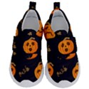 Funny Scary Black Orange Halloween Pumpkins Pattern Velcro Strap Shoes View1