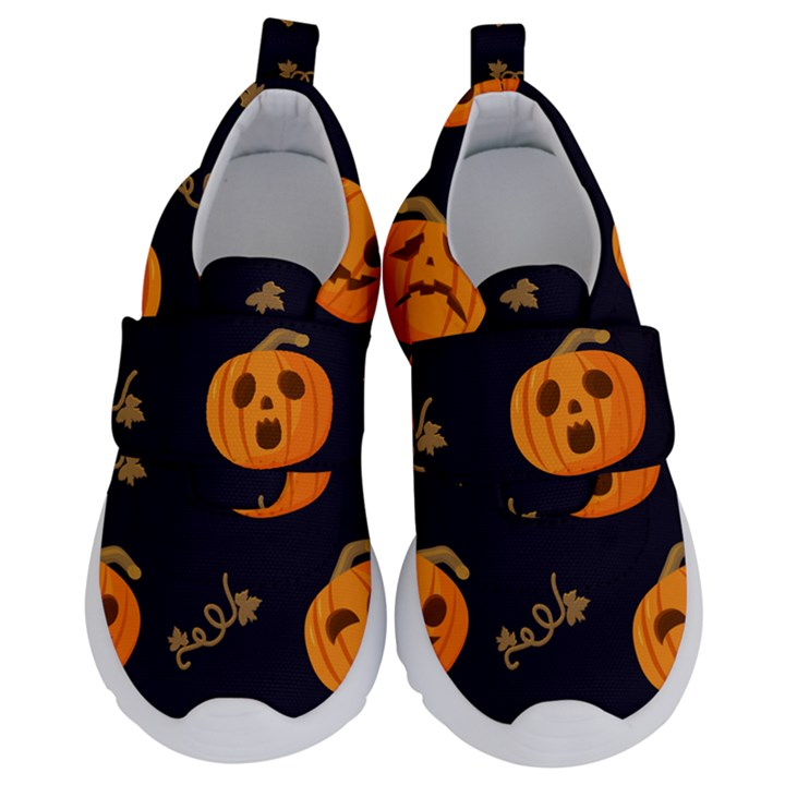 Funny Scary Black Orange Halloween Pumpkins Pattern Velcro Strap Shoes