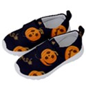 Funny Scary Black Orange Halloween Pumpkins Pattern Velcro Strap Shoes View2