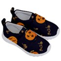 Funny Scary Black Orange Halloween Pumpkins Pattern Velcro Strap Shoes View3
