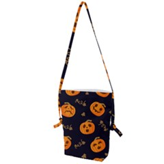 Funny Scary Black Orange Halloween Pumpkins Pattern Folding Shoulder Bag