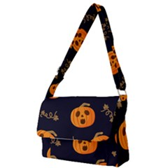 Funny Scary Black Orange Halloween Pumpkins Pattern Full Print Messenger Bag