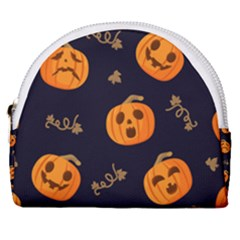 Funny Scary Black Orange Halloween Pumpkins Pattern Horseshoe Style Canvas Pouch