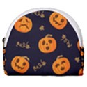 Funny Scary Black Orange Halloween Pumpkins Pattern Horseshoe Style Canvas Pouch View1