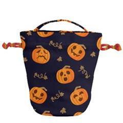 Funny Scary Black Orange Halloween Pumpkins Pattern Drawstring Bucket Bag