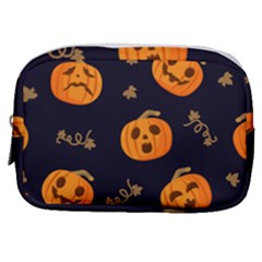 Funny Scary Black Orange Halloween Pumpkins Pattern Make Up Pouch (small)