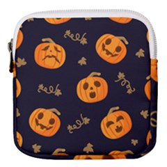 Funny Scary Black Orange Halloween Pumpkins Pattern Mini Square Pouch