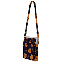 Funny Scary Black Orange Halloween Pumpkins Pattern Multi Function Travel Bag