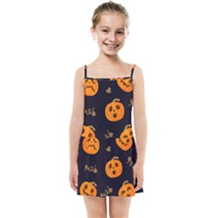 Funny Scary Black Orange Halloween Pumpkins Pattern Kids Summer Sun Dress