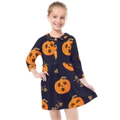 Funny Scary Black Orange Halloween Pumpkins Pattern Kids  Quarter Sleeve Shirt Dress