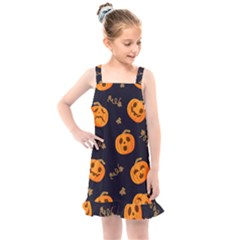 Funny Scary Black Orange Halloween Pumpkins Pattern Kids  Overall Dress