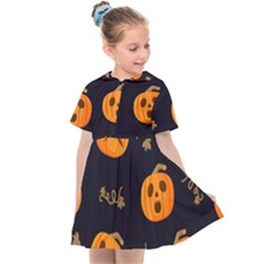 Funny Scary Black Orange Halloween Pumpkins Pattern Kids  Sailor Dress