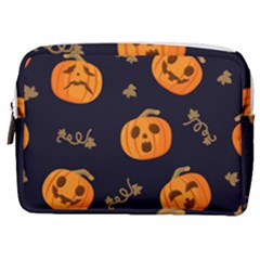 Funny Scary Black Orange Halloween Pumpkins Pattern Make Up Pouch (medium)