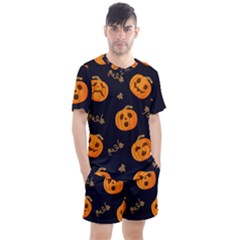 Funny Scary Black Orange Halloween Pumpkins Pattern Men s Mesh Tee And Shorts Set