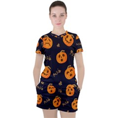 Funny Scary Black Orange Halloween Pumpkins Pattern Women s Tee And Shorts Set