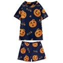 Funny Scary Black Orange Halloween Pumpkins Pattern Kids  Swim Tee and Shorts Set View1