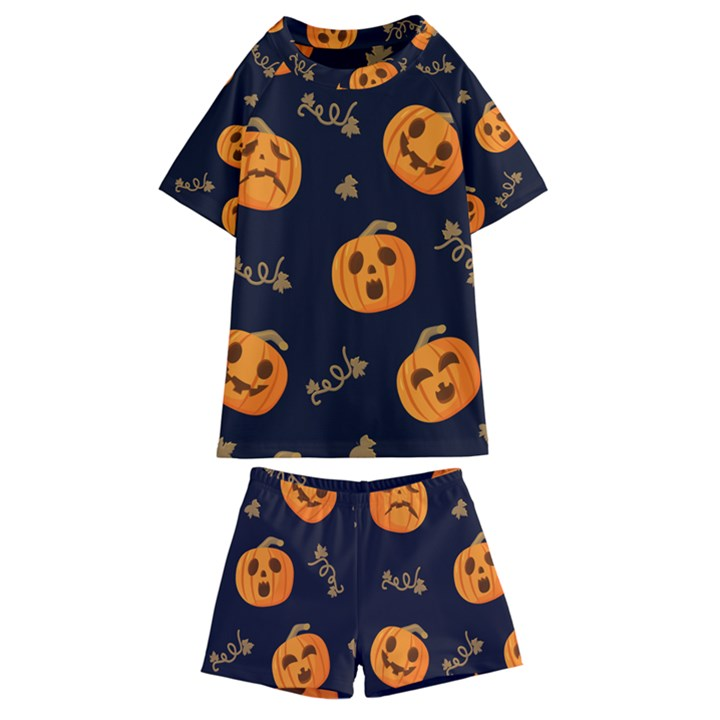 Funny Scary Black Orange Halloween Pumpkins Pattern Kids  Swim Tee and Shorts Set