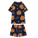 Funny Scary Black Orange Halloween Pumpkins Pattern Kids  Swim Tee and Shorts Set View2