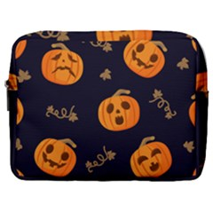 Funny Scary Black Orange Halloween Pumpkins Pattern Make Up Pouch (large)