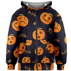 Funny Scary Black Orange Halloween Pumpkins Pattern Kids Zipper Hoodie Without Drawstring
