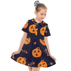 Funny Scary Black Orange Halloween Pumpkins Pattern Kids  Short Sleeve Shirt Dress