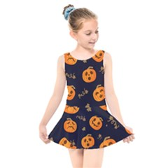 Funny Scary Black Orange Halloween Pumpkins Pattern Kids  Skater Dress Swimsuit