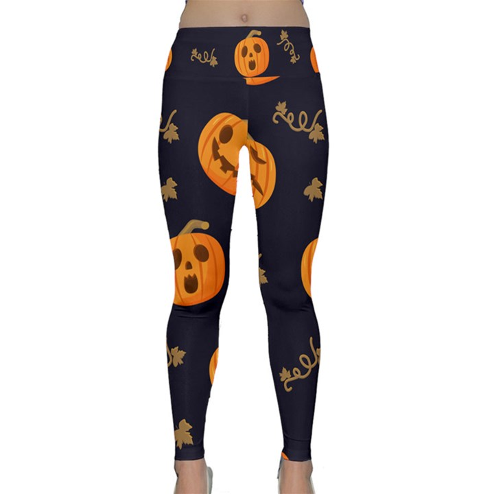 Funny Scary Black Orange Halloween Pumpkins Pattern Lightweight Velour Classic Yoga Leggings