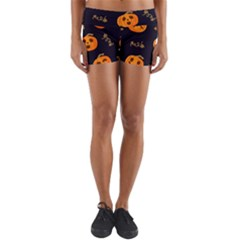 Funny Scary Black Orange Halloween Pumpkins Pattern Lightweight Velour Yoga Shorts