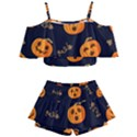 Funny Scary Black Orange Halloween Pumpkins Pattern Kids  Off Shoulder Skirt Bikini View1
