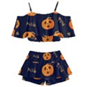 Funny Scary Black Orange Halloween Pumpkins Pattern Kids  Off Shoulder Skirt Bikini View2