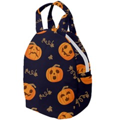 Funny Scary Black Orange Halloween Pumpkins Pattern Travel Backpacks