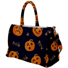 Funny Scary Black Orange Halloween Pumpkins Pattern Duffel Travel Bag