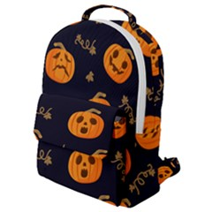 Funny Scary Black Orange Halloween Pumpkins Pattern Flap Pocket Backpack (small)