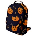 Funny Scary Black Orange Halloween Pumpkins Pattern Flap Pocket Backpack (Small) View1