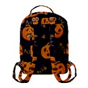Funny Scary Black Orange Halloween Pumpkins Pattern Flap Pocket Backpack (Small) View3