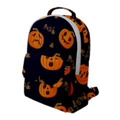 Funny Scary Black Orange Halloween Pumpkins Pattern Flap Pocket Backpack (large)