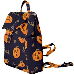 Funny Scary Black Orange Halloween Pumpkins Pattern Buckle Everyday Backpack