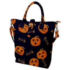 Funny Scary Black Orange Halloween Pumpkins Pattern Buckle Top Tote Bag by HalloweenParty