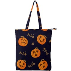 Funny Scary Black Orange Halloween Pumpkins Pattern Double Zip Up Tote Bag by HalloweenParty