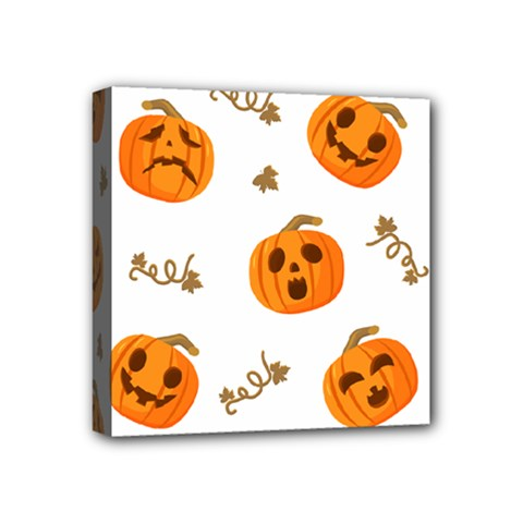 Funny Spooky Halloween Pumpkins Pattern White Orange Mini Canvas 4  X 4  (stretched)
