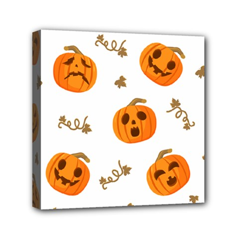 Funny Spooky Halloween Pumpkins Pattern White Orange Mini Canvas 6  X 6  (stretched)