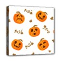 Funny Spooky Halloween Pumpkins Pattern White Orange Mini Canvas 8  x 8  (Stretched) View1