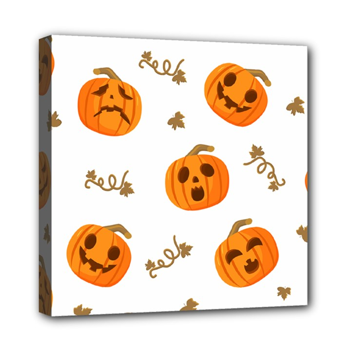 Funny Spooky Halloween Pumpkins Pattern White Orange Mini Canvas 8  x 8  (Stretched)