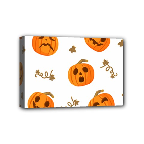 Funny Spooky Halloween Pumpkins Pattern White Orange Mini Canvas 6  X 4  (stretched)
