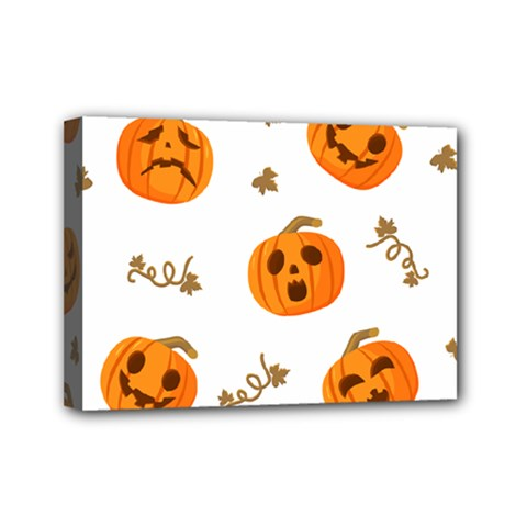 Funny Spooky Halloween Pumpkins Pattern White Orange Mini Canvas 7  X 5  (stretched)