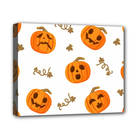 Funny Spooky Halloween Pumpkins Pattern White Orange Canvas 10  X 8  (stretched)