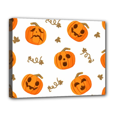 Funny Spooky Halloween Pumpkins Pattern White Orange Canvas 14  X 11  (stretched) by HalloweenParty