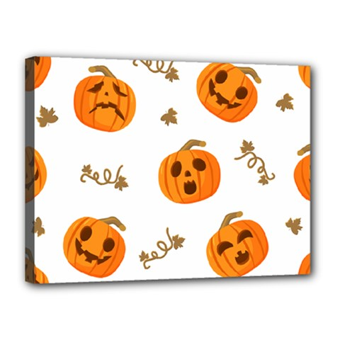 Funny Spooky Halloween Pumpkins Pattern White Orange Canvas 16  X 12  (stretched)