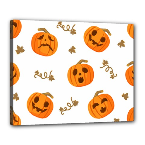 Funny Spooky Halloween Pumpkins Pattern White Orange Canvas 20  X 16  (stretched) by HalloweenParty